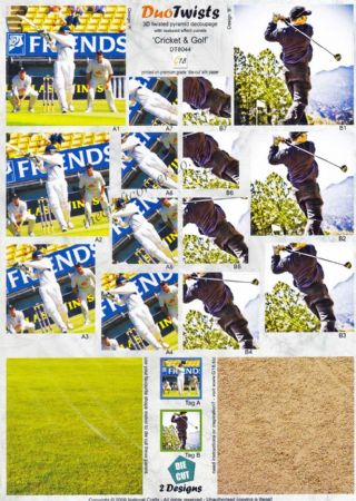 Cricket and Golf Duo Twists Pyramid Die Cut 3d Decoupage Sheet